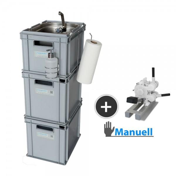 mobiles Handwaschbecken mit Zubehör, manueller Betrieb
